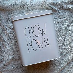 Rae Dunn CHOW DOWN Large Tin Dog Food Canister